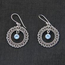 Indonesian Sterling Silver and Blue Topaz Earrings, 'Radiant Halo'