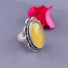 LIME YELLOW ONYX Ring -Size 8 Ring - 925 Sterling Silver Ring - Onyx Gemstone Ring - Vintage Ring