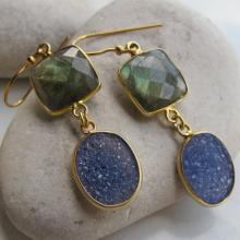 Labradorite Druzy Earring- Gemstone Earring- Labradorite Earring- Statement Earring- Blue Gemstone Earring- Quartz Earring- Top