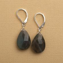 Labradorite Gemstone Earrings, Blue Gray Gemstone Earrings, Labradorite Sterling Silver Leverback Earring, Healing Gemstone Jewelry