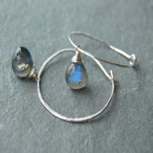 Labradorite Hoop Earrings, Silver Hoop Earrings, Labradorite Earrings, Hammered Hoop Earrings, Silver Gemstone Earrings