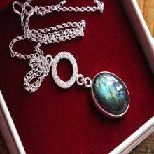 Labradorite Pendant - Gemstone Pendant - Sterling silver pendant - Artisan pendant Bezel set pendant
