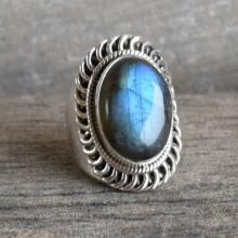 Labradorite Ring - Gemstone Ring - Stacking Ring - Oval Ring - Gift for Her - Sterling Silver Ring - Blue Labradorite Jewelry