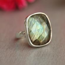 Labradorite Ring - Square ring - Bezel ring - Gemstone ring - Sterling silver ring - Nebula ring