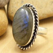Labradorite Ring Sz 7.5, Silver Labradorite Ring, Statement Ring, Crystal Ring, Gemstone Ring, Boho Ring, Cocktail Ring
