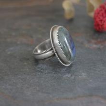 Labradorite Ring. Classic Statement Ring. Oval Gemstone Ring