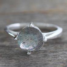 Labradorite Solitaire Ring in Sterling Silver