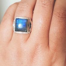 Labradorite ring - Gemstone Ring - Labradorite Jewelry - Sterling Silver Unisex Ring - Mens Ring - Bohemian Jewelry