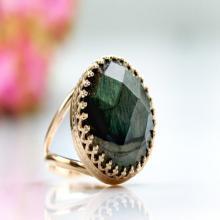 Labradorite ring,pink gold ring,rose gold gemstone ring,faceted ring,cocktail ring,bridal ring