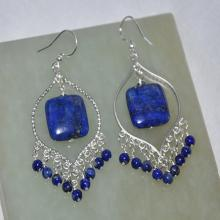 Lapis Earrings, Silver Earrings, Dangle Earrings, Chandelier Earrings, Sterling Silver, Gemstone Earrings, Fashion Jewelry