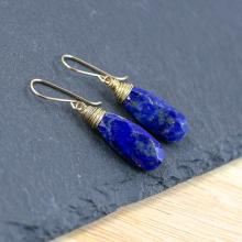 Lapis Lazuli & 14 krt Gold Filled Earrings. Wire Wrapped Long Tear drop Earrings. Deep Cobalt Blue Semi Precious Gemstone Jewelry