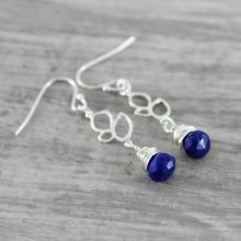 Lapis Lazuli Earrings - Blue Lapis Lazuli Earrings - Dark Blue Gemstone Earrings - Silver Earrings - Silver Lapis Lazuli Earrings - Teardrop