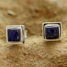 Lapis Lazuli Earrings Handmade Sterling Silver Jewelry India, 'Hindu Galaxy'
