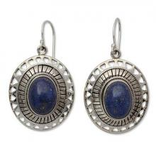 Lapis Lazuli Earrings from India Silver Jewelry Collection, 'Tribal Medallion'