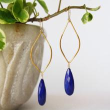 Lapis Lazuli Hoop Earrings - Gemstone Earrings - Dangle Gemstone Earrings