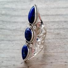 Lapis Lazuli Ring - Blue Lapis Ring - Bohemian Ring - Lapis Jewelry - Silver Statement Ring - Nepalese Tibetan Jewelry