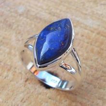 Lapis Lazuli Ring - Sterling Silver Ring - Gemstone Ring - Handmade Ring - Semiprecious Ring - Marquise Stone Ring