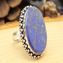 Lapis Lazuli Ring Sz 8.5, Silver Lapis Lazuli Ring, Gemstone Ring, Crystal Ring, Statement Ring, Boho Ring, Cocktail Ring