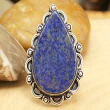 Lapis Lazuli Ring Sz 9, Silver Lapis Lazuli Ring, Gemstone Ring, Crystal Ring, Statement Ring, Boho Ring, Cocktail Ring