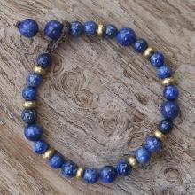 Lapis Lazuli and Brass Beaded Bracelet