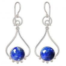 Lapis Lazuli and Silver Earrings, 'Andean Moon'