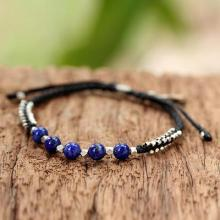 Lapis Lazuli and Sterling Silver Beaded Bracelet with Leaf