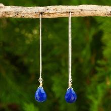 Lapis Lazuli on Sterling Silver Earrings with Gold Accent, 'Sublime Water Lily'