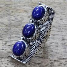 Lapis Lazuli on Sterling Silver Full Finger Ring