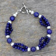 Lapis lazuli and pearl beaded bracelet