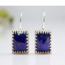 Lapis lazuli earrings,square gemstone earrings,dangle earrings,hook earrings,silver earrings,stone earrings
