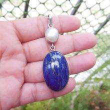 Lapis pearl pendant- Lapis lazuli pendant - Lapis pendant - Bezel pendant - Oval pendant - Gemstone pendant