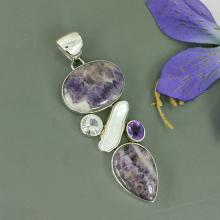 Large Amethyst Lace, Clear Crystal, Fresh Water Pearl Multi Gemstone Pendant, 925 Sterling Silver Handmade Pendant Jewelry
