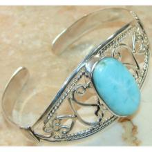 Larimar Cabochons Bangle 925 Sterling Silver