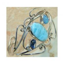 Larimar Kyanite Fire Opal Bangle 925 Sterling Silver