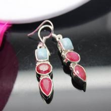 Larimar earrings, Ruby Earrings, Sterling Silver Earrings, Gemstone Earrings