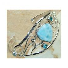 Larimar, Blue Topaz Bangle 925 Sterling Silver