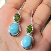 Larimar, Peridot Earrings, Sterling Silver Earrings, Gemstone Earrings