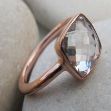 Leaf Ring-White Topaz Ring-Silver Leaf Ring-April Birthtstone Ring-Gemstone Ring-Stone Ring-Topaz Rings-Rose Gold Ring-Quartz