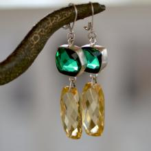 Lemon Quartz - Green Quartz Sterling Silver Earrings. LARGE Yellow Quartz Earrings. Geometric Gemstone Earrings. Fine Jewelry.