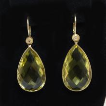 Lemon Quartz Teardrop Dangle Earrings 14k Yellow Gold Yellow Gemstone Earrings Fine Jewelry Crystal Earrings Gift for Her Unique Earrings