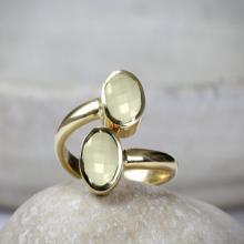 Lemon Quartz ring,double setting ring,gold adjustable ring,quartz ring,gemstone ring,momi gift,birthstone rings