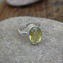 Lemon Topaz Gemstone Ring - Solid 925 Sterling Silver Ring - Birthstone Ring - Solitaire Gift Ring Size 7 - Handmade Artisan Ring