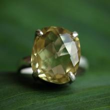 Lemon quartz ring - Natural gemstone ring - cushion ring, prong set, sterling silver ring,handmade