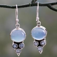 Light Blue Gemstone Earrings in Sterling Silver Settings, 'Bubbling Stream'