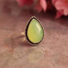 Lime green ring - Chalcedony Ring - Artisan ring- drop ring - Bezel set ring - Gemstone ring