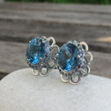 London Blue Topaz Earrings with Blue Sapphire- Gorgeous Blue Topaz Earrings- Blue Sapphire Earrings
