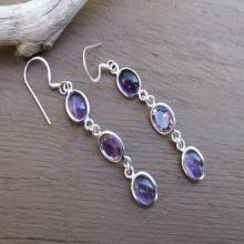 Long Amethyst Silver Earrings, Purple Amethyst Gemstone Earrings, Dangle Earrings, Amethyst Jewelry
