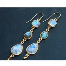 Long Rainbow Moonstone and Labradorite Earrings - Geometric Earrings - Gemstone Earrings - Dangle Earrings - Gold Earrings