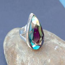 MYSTIC QUARTZ Ring - Size 9 Ring - 925 Sterling Silver Ring - Mystic Quartz hydro ring - Women Ring