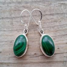 Malachaite Earrings - Sterling Silver Malachite Earrings - Gemstone Earrings - Malachite Jewelry- Green Earrings - Everyday Earrings
